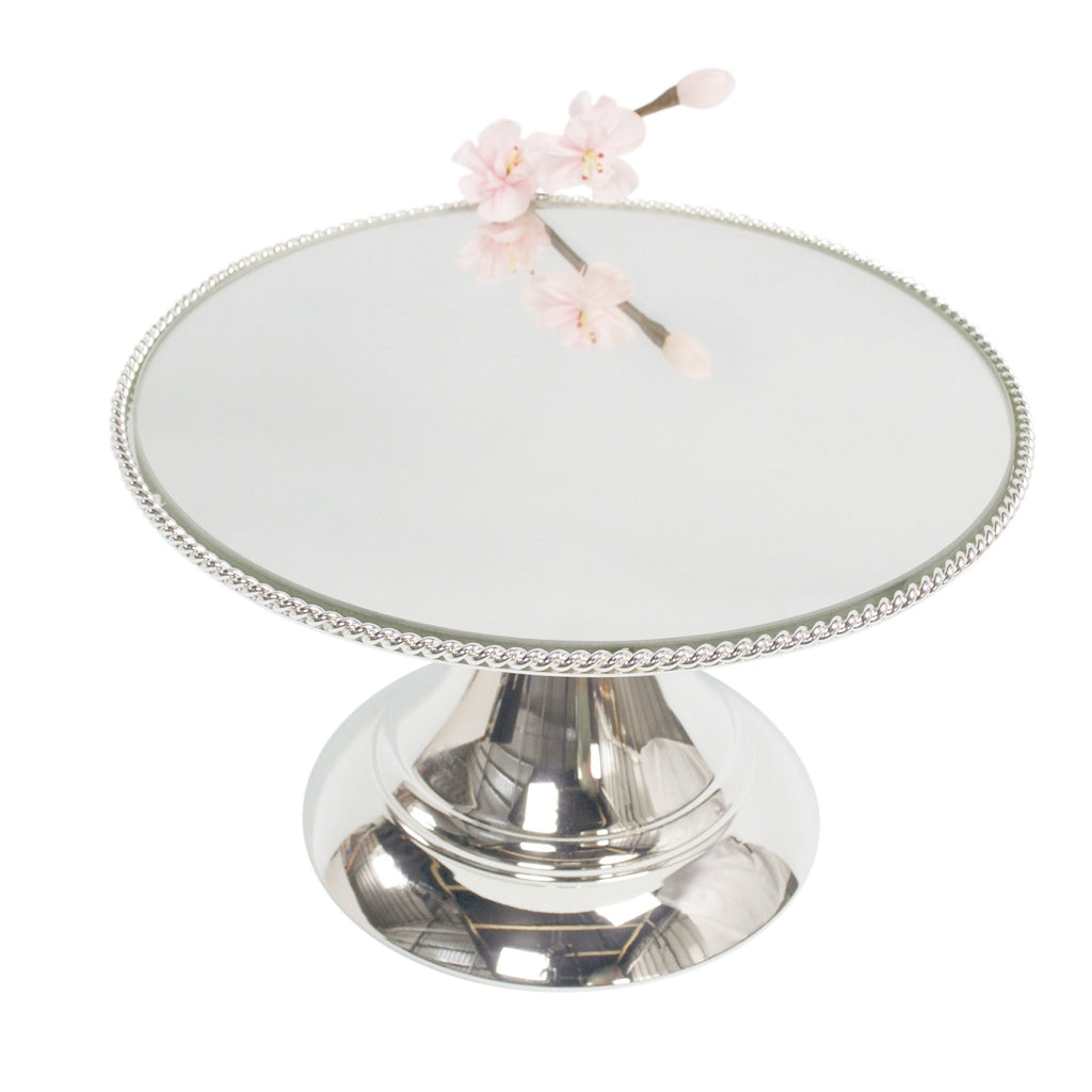 25cm (10 inch)  Silver Plated Mirror top with Rope Design  Flat top Alyssa collection