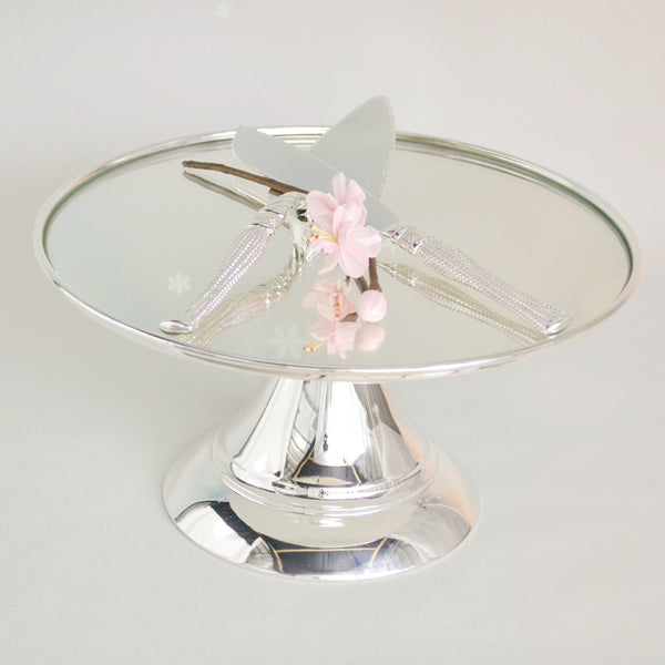 30 cm (12-inch) Round Modern Silver Plate  Mirror Cake stand  Angelique collection