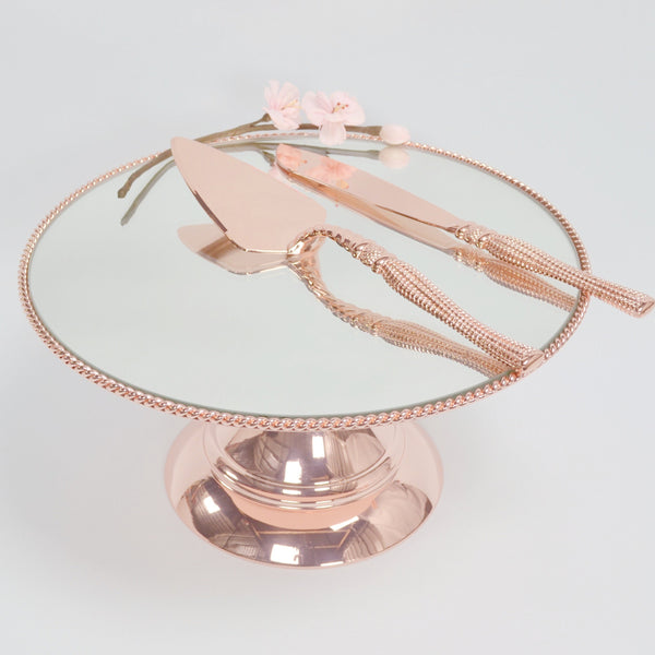 25cm (10 inch)  Rose Gold Plated Mirror top with Rope Design  Flat top Alyssa collection CSR25RGX