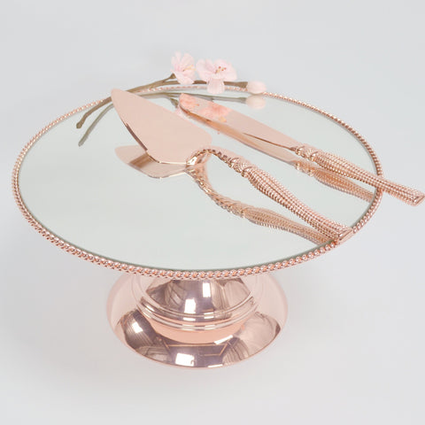 25cm (10 inch)  Rose Gold Plated Mirror top with Rope Design  Flat top Alyssa collection