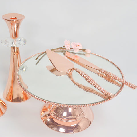 30cm (12inch)  Rose Gold Plated Mirror top with Rope Design  Flat top Alyssa collection
