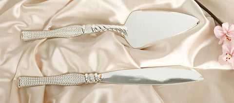 41cm Cake and Knife serving set  Silver  packed in display box Arilia Collection CN415SS