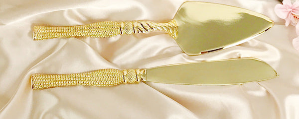 41cm Cake and Knife serving set  Gold  packed in display box Arilia Collection CN415G