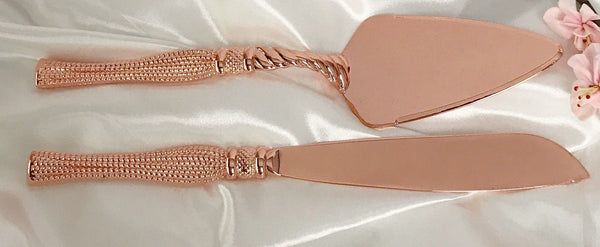 41cm Cake and Knife serving set  Rose Gold  packed in display box Arilia Collection