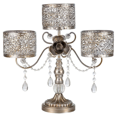Antique Silver 3 Pillar Candle Holder | Amalfi Decor AU