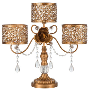 Antique Gold 3 Pillar Candle Holder | Amalfi Decor AU