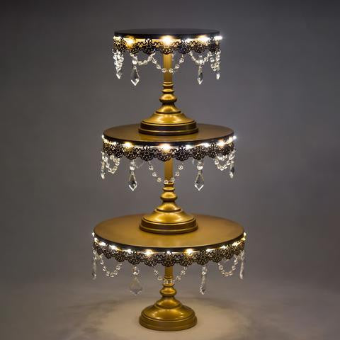 3-Piece Gold LED Cake Stand Set | Amalfi Decor AU