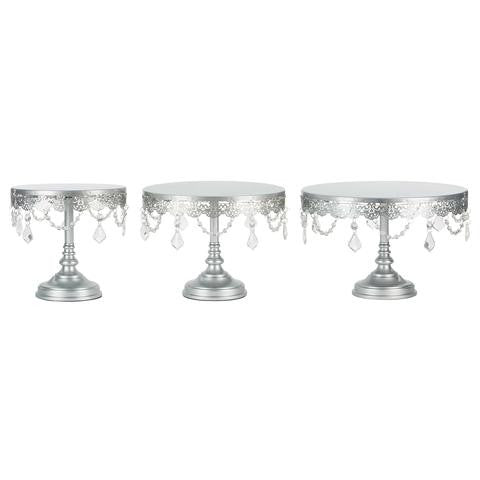 3-Piece Silver LED Cake Stand Set | Amalfi Decor AU