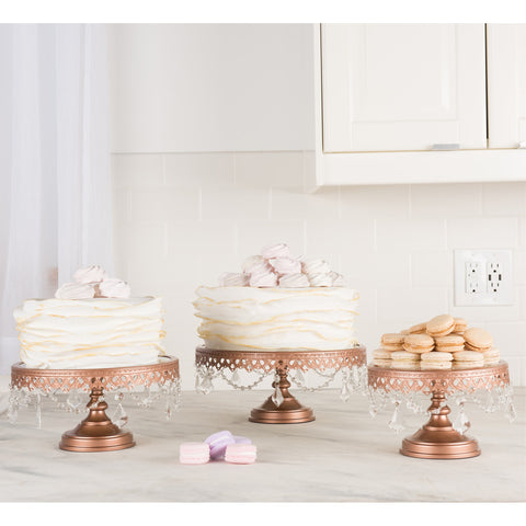 3-Piece Rose Gold Glass Top Cake Stand Set | Amalfi Decor AU
