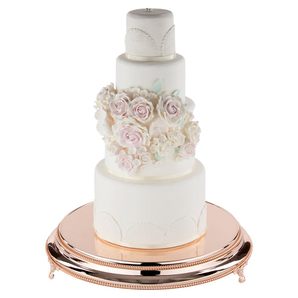 "40cm/16"" Plateau  Rose  Gold Plated stands standing 9.5cm High"