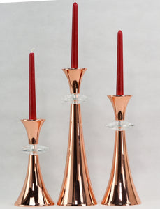Rose Gold Plated Crystal inserted candle Holder set of 3--,11,22 and 35cm Tall