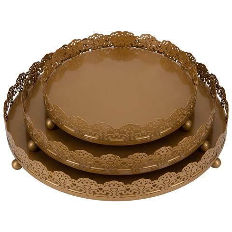 3-Piece Decorative Tray Set | Gold | Sophia Collection