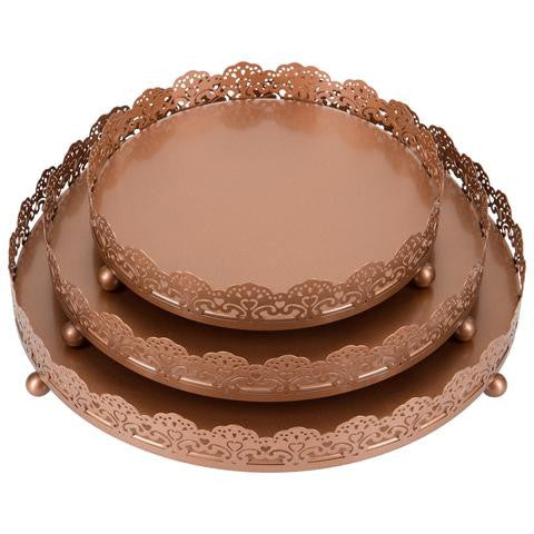 3-Piece Decorative Tray Set | Rose Gold | Sophia Collection
