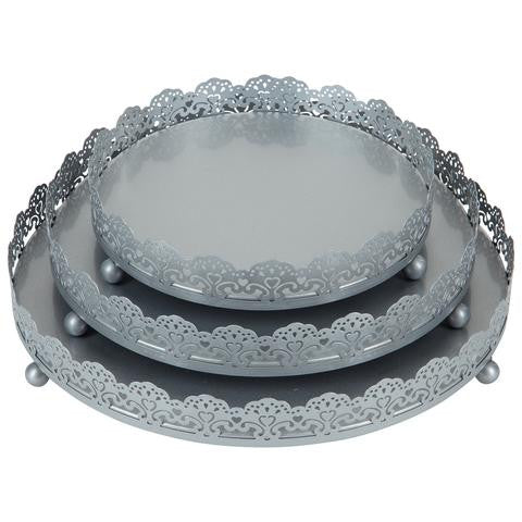 3-Piece Decorative Tray Set | Silver | Sophia Collection ST001SS