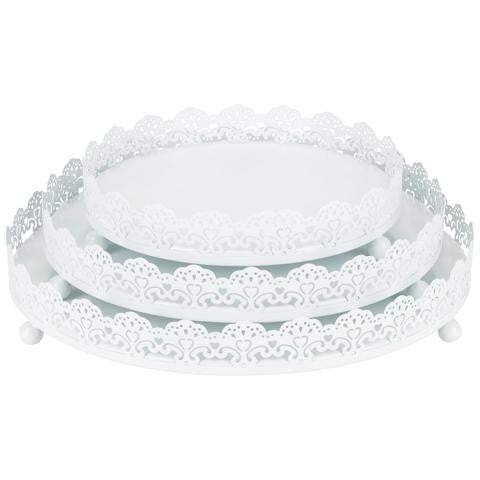3-Piece Decorative Tray Set | White | Sophia Collection