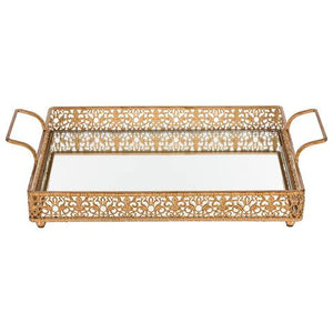 2-Piece Decorative Rectangular Mirrow Serving Tray Gold