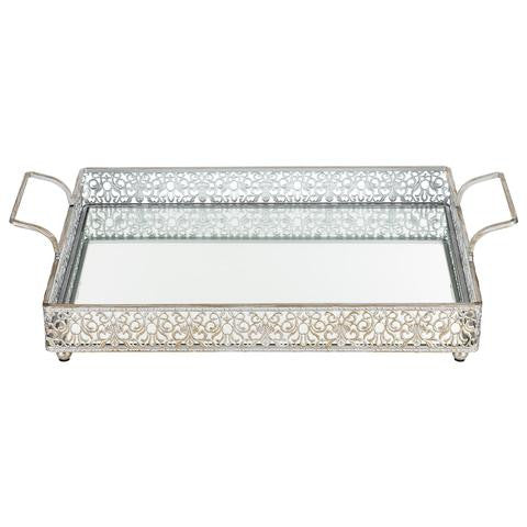 2-Piece Decorative Rectangular Mirror Serving Tray Silver S1932S