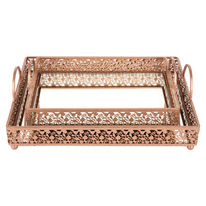 2-Piece Decorative Rectangular Mirror Serving Tray Rose Gold