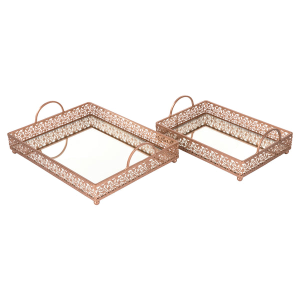 2-Piece Decorative Rectangular Mirror Serving Tray Rose Gold S1932RG