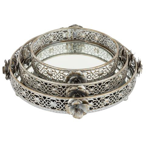 3-Piece Round Floral Decorative Tray Set | Antique Silver | Madeleine Collection ST004MS