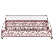 2-Piece Rectangular Mirror-Top Decorative Tray Dessert Stand Set (Rose Gold) ST007VR