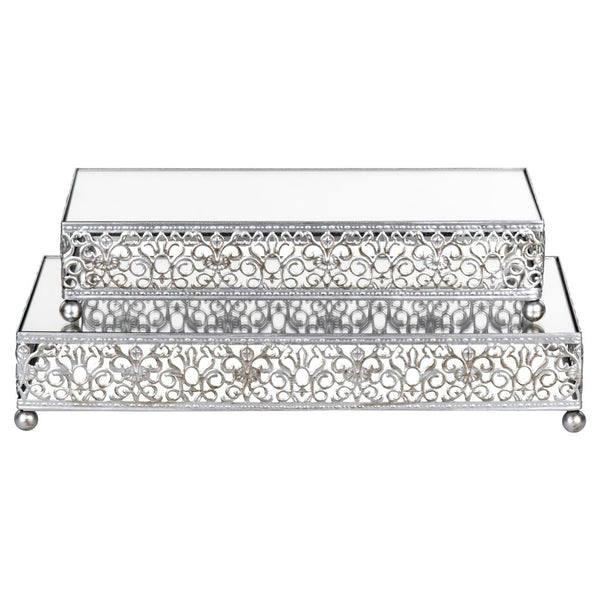2-Piece Rectangular Mirror-Top Decorative Tray Dessert Stand Set (Silver) ST007VS