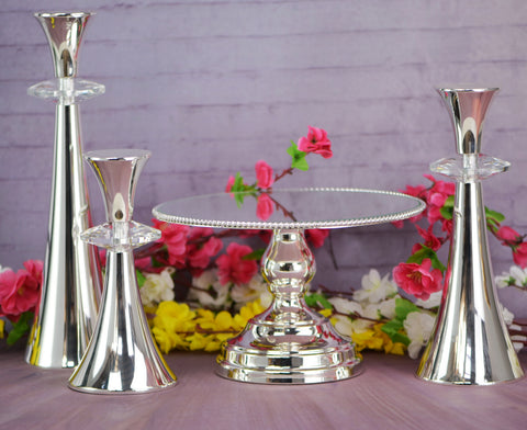 25cm Rope design cake stand with  3 Candle Set  Silver