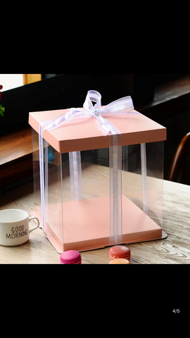 Cake Box 31cm-dia  Double Layer 2 tier cake  Pink Top and Bottom