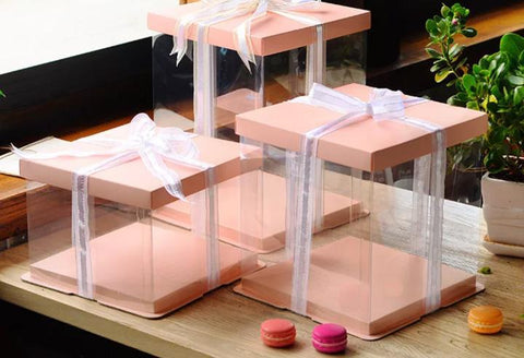 Cake Box 26cm dia Triple   3 Tier Layer cake  Pink top and Bottom