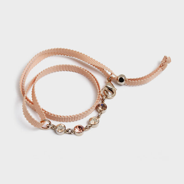 'Night Streets' Ribbon Wrap Bracelet Beige