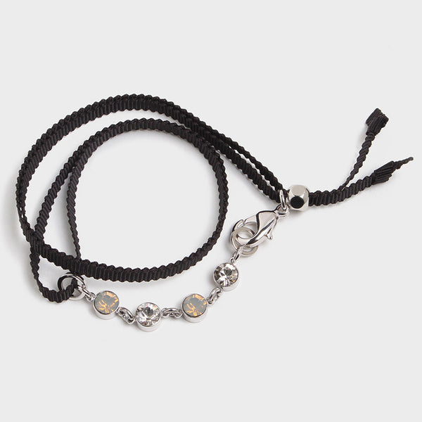 'Night Streets' Ribbon Wrap Bracelet Black
