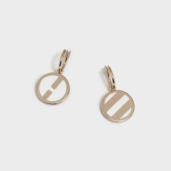'Night Streets' Disc Pendant Earrings 10K Gold