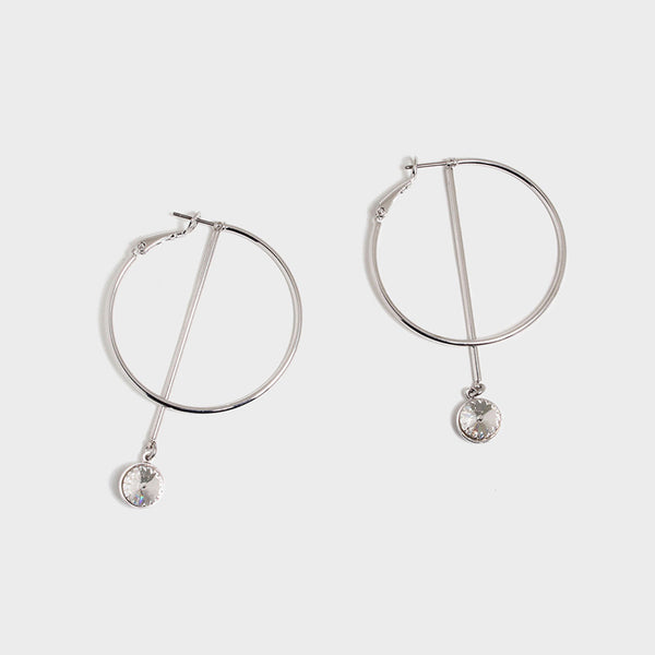 'Night Streets' Medium Hoop Earrings White Gold