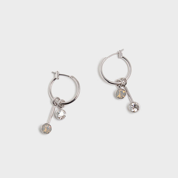 'Night Streets' Small Hoop Earrings White Gold