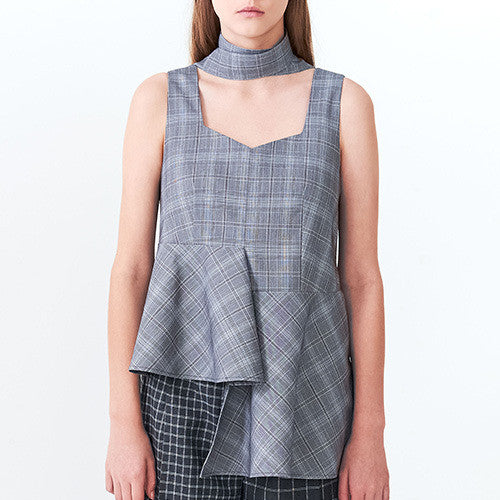 Asymmetric Checkered Flare Top
