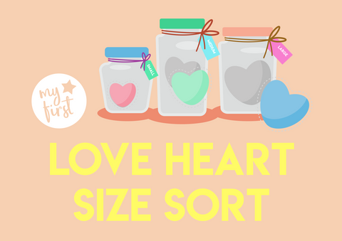 love heart size sorting activity