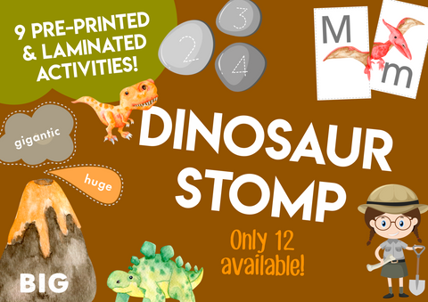 Play & Learn Kit - Printed & Laminated, Ready to Play! DINOSAUR STOMP (May 2019)