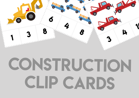 Construction Number Clip Cards