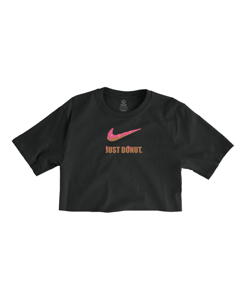 Frosted Just Donut. Black Cropped Tee