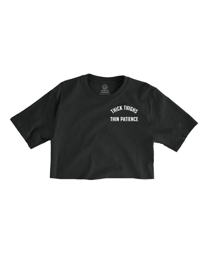 Thin Patience Logo - Black Cropped Tee