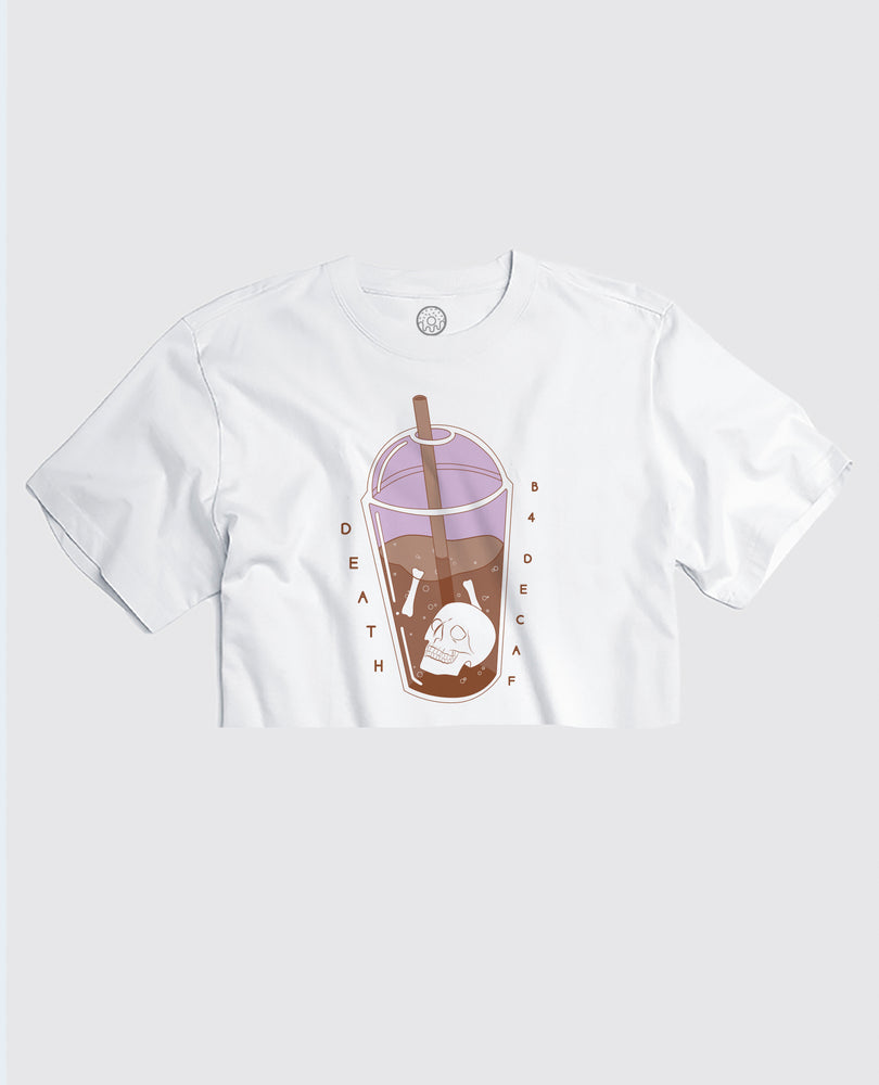 Death B4 Decaf  - White Cropped Tee