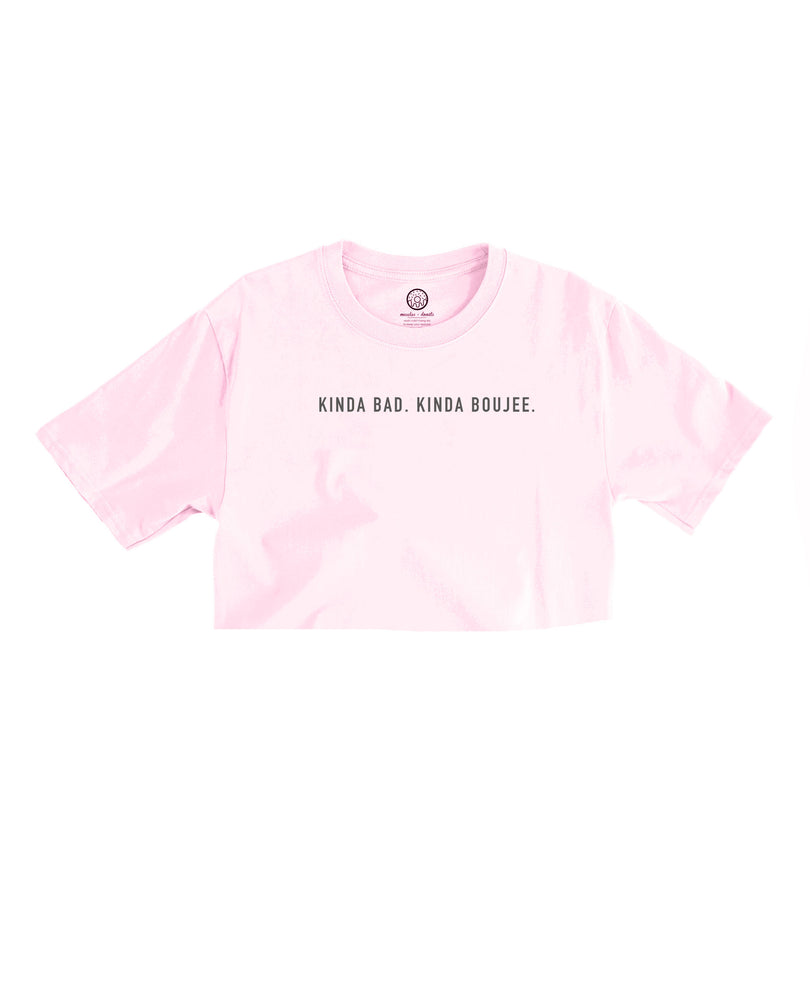 Bad & Boujee Light Pink Cropped Tee (Unisex Size)