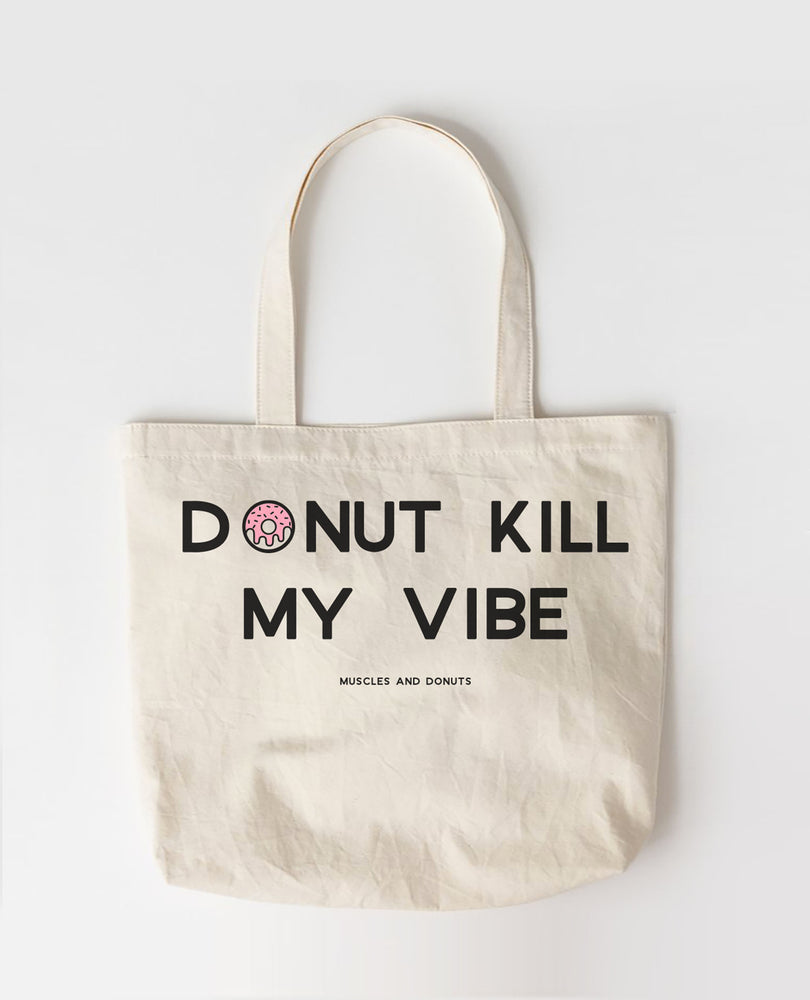 Muscles and Donuts - Large Canvas Tote Bags