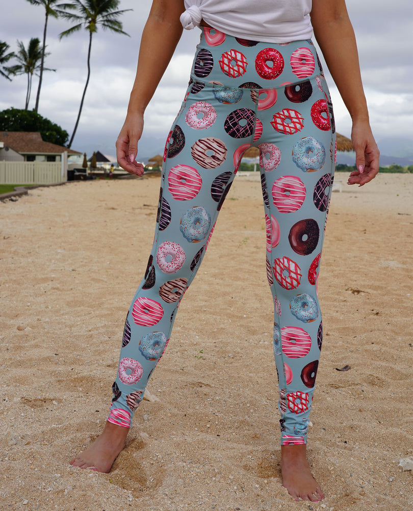 muscles and donuts donut leggings dusty blue pocket leggings