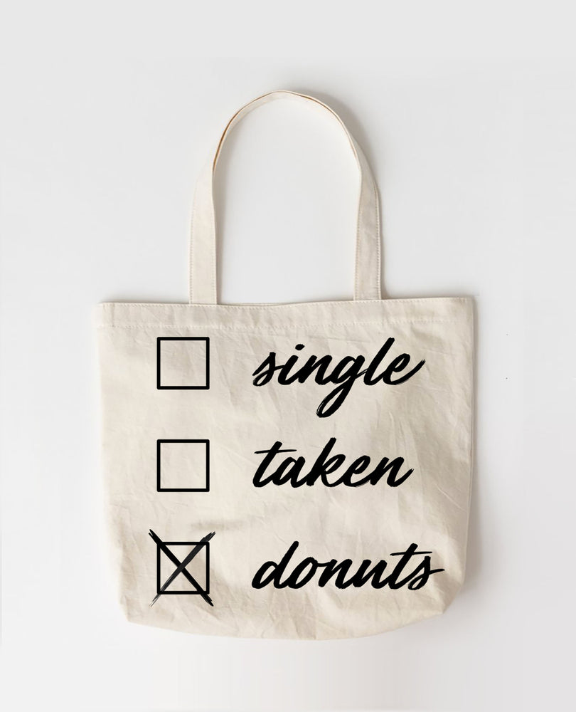 Single Taken Donuts! - Large Canvas Tote Bag