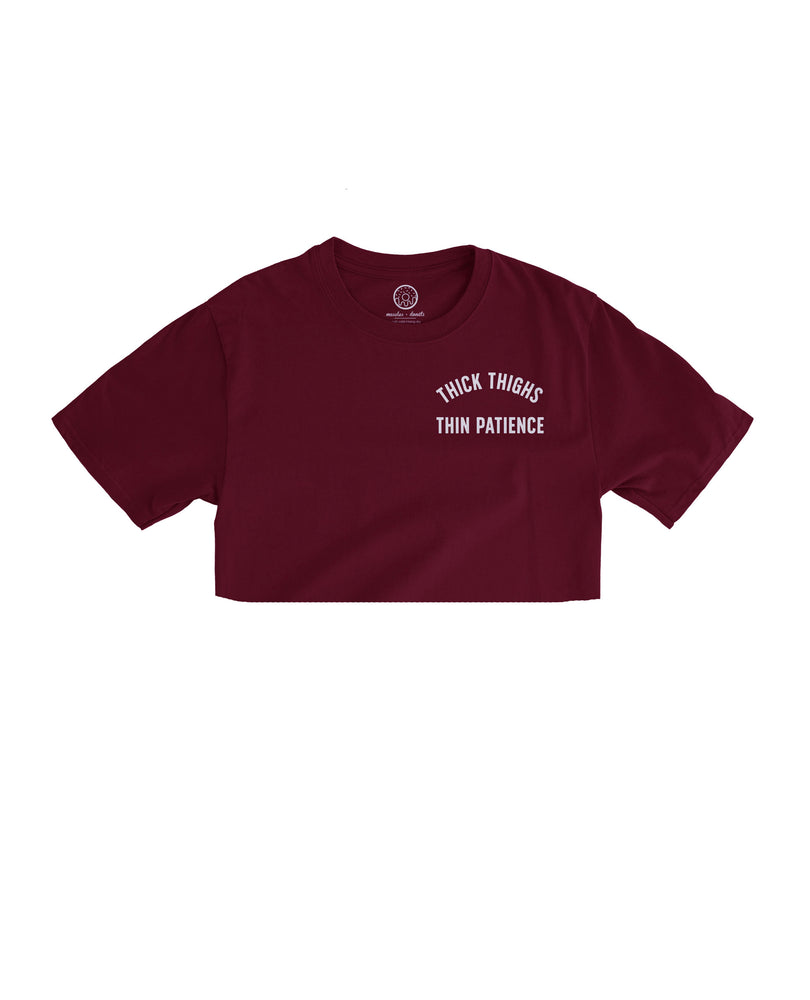 Thin Patience - Maroon Cropped Tee