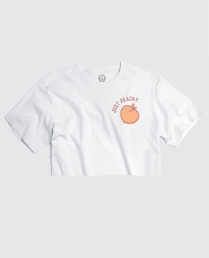 Just Peachy - White Cropped Tee
