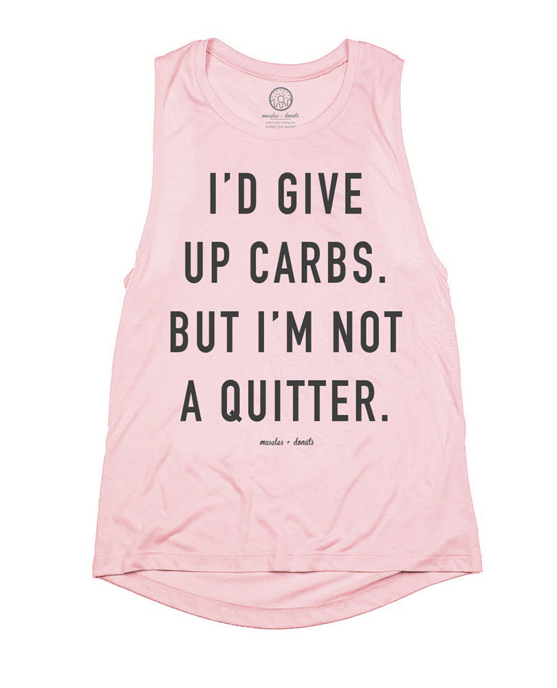 muscles and donuts i'd give up carbs but i'm not a quitter muscle tank top