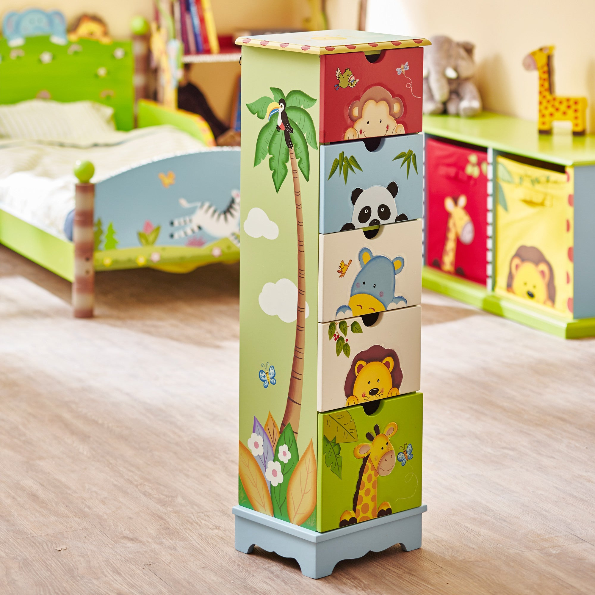Kids wooden toy chest sunny safari - Sunny Safari Storage Cabinet With 5 Drawers Fantasy Fields Official Website