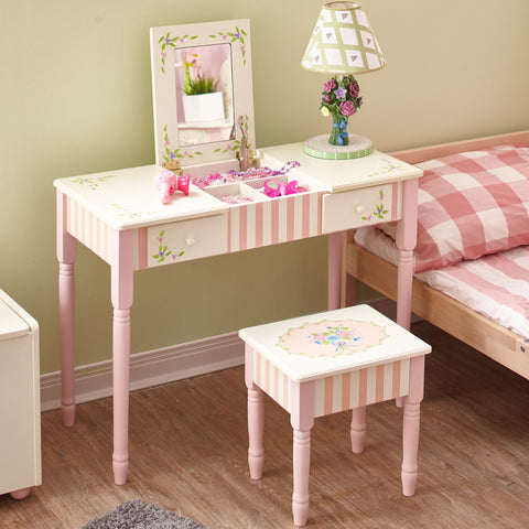 Bouquet - Flip Top Mirror Vanity Table and Stool Set : Fantasy Fields® Official Website